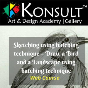 Sketching using hatching technique – Draw a Bird and a Landscape using hatching technique web